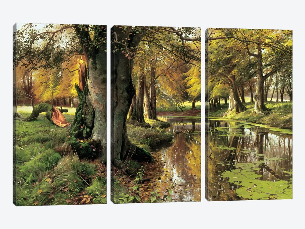 A Woodland Stream by Peder Monsted 3-piece Canvas Artwork