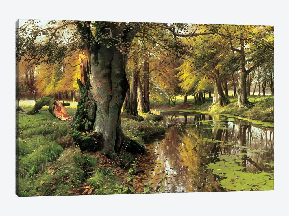 A Woodland Stream by Peder Monsted 1-piece Canvas Wall Art
