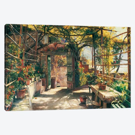 In The Pergola Canvas Print #PDR3} by Peder Monsted Art Print
