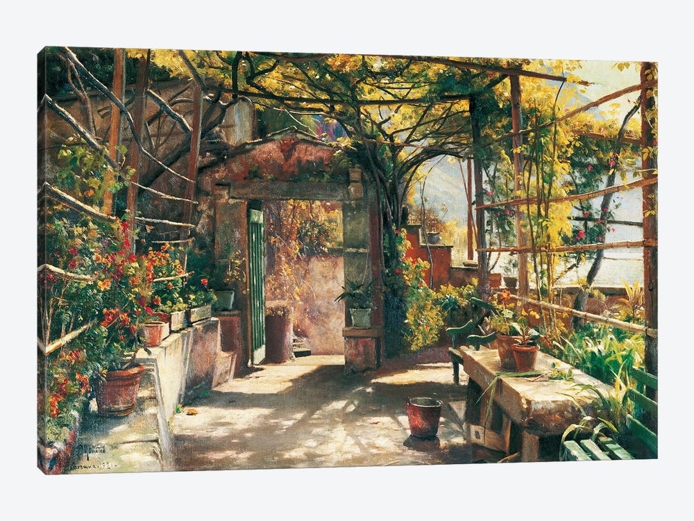 In The Pergola by Peder Monsted 1-piece Art Print