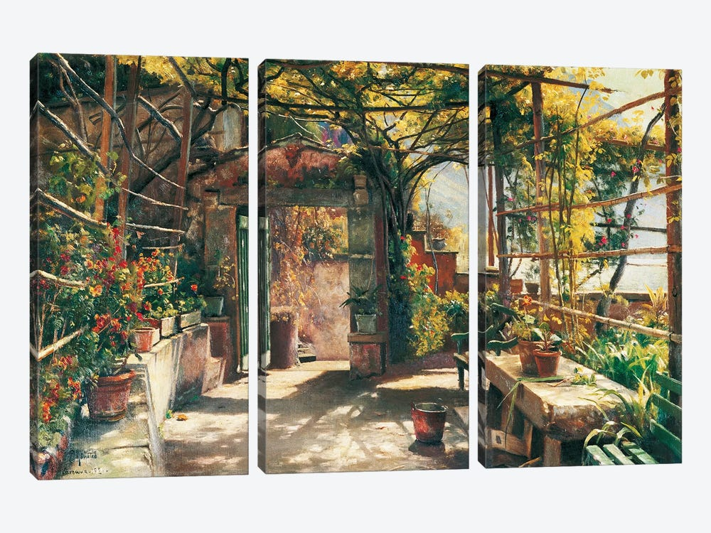 In The Pergola by Peder Monsted 3-piece Canvas Art Print