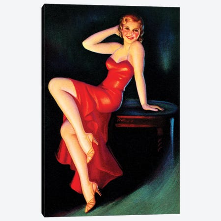 Red Dress Pin Up Canvas Print #PDX106} by Piddix Canvas Artwork