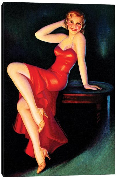 Red Dress Pin Up Canvas Art Print