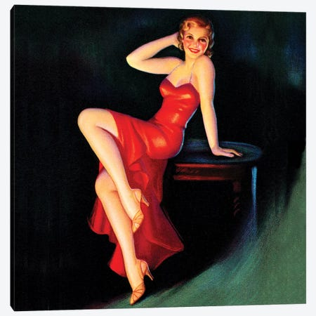 Red Dress Pin Up Square Canvas Print #PDX107} by Piddix Canvas Wall Art
