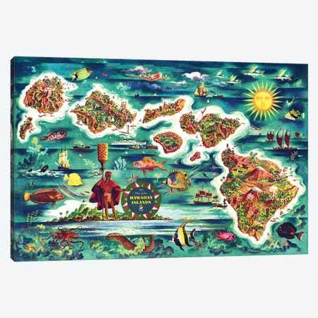 Retro Map of the Hawaiian Islands Canvas Print #PDX108} by Piddix Art Print