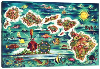 Retro Map of the Hawaiian Islands Canvas Art Print