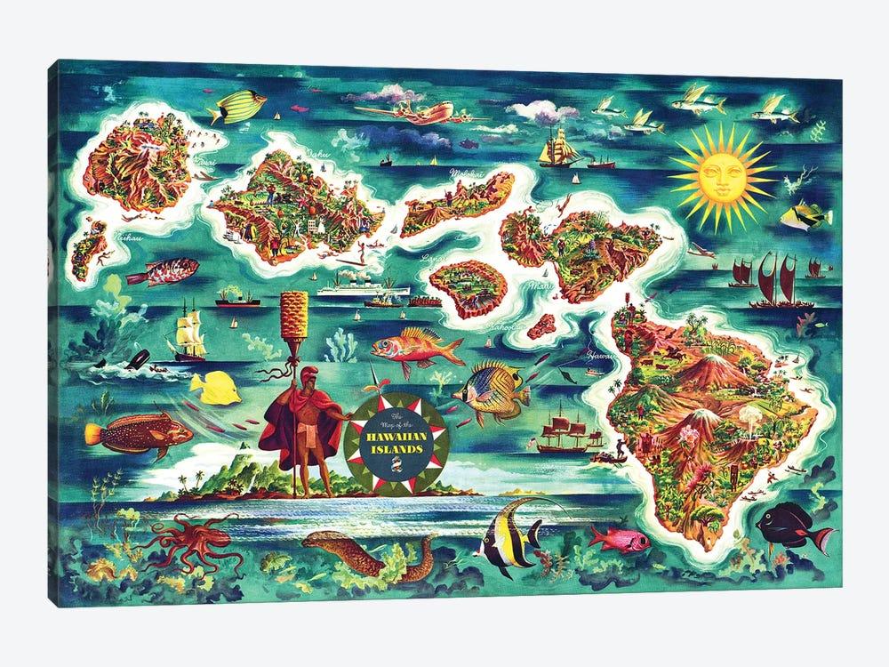Retro Map of the Hawaiian Islands by Piddix 1-piece Art Print