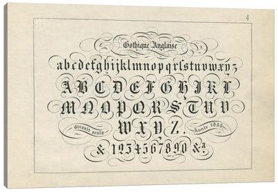 Alphabet Gothique Anglaise, Plate 4 Canvas Art Print