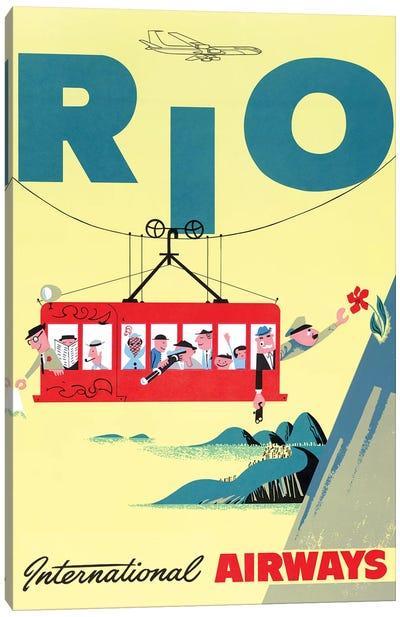 Rio Cable Car, Vintage Travel Poster, International Airways Canvas Art Print