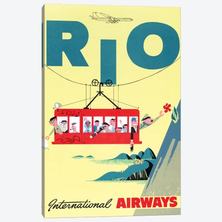 Rio Cable Car, Vintage Travel Poster, International Airways Canvas Print #PDX110} by Piddix Canvas Artwork