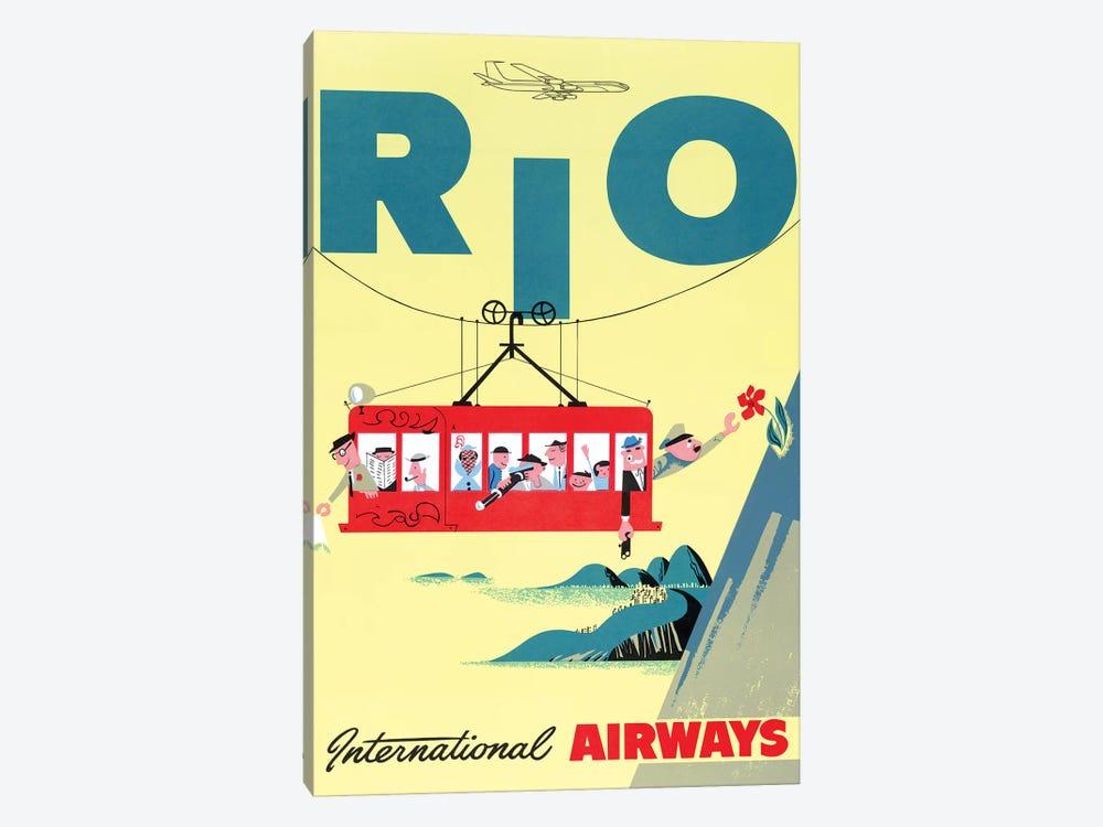 Rio Cable Car, Vintage Travel Poster, International Airways by Piddix 1-piece Canvas Artwork