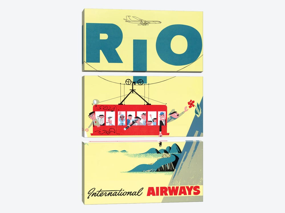 Rio Cable Car, Vintage Travel Poster, International Airways by Piddix 3-piece Canvas Wall Art