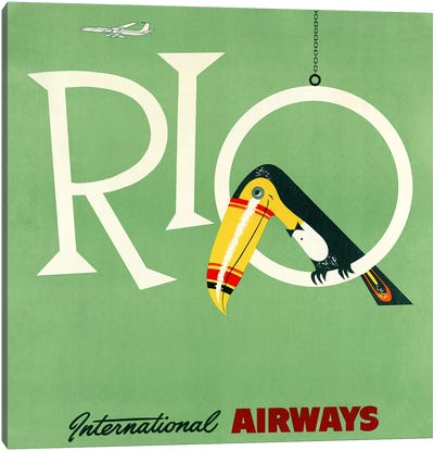 Rio Travel Poster, International Airways Canvas Art Print