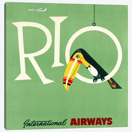 Rio Travel Poster, International Airways Canvas Print #PDX111} by Piddix Canvas Wall Art