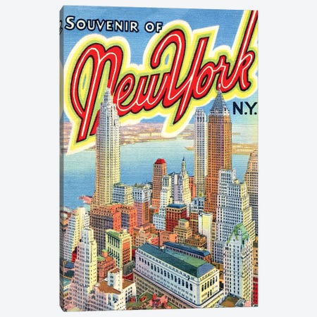 Souvenir of New York, NY, Travel Postcard Canvas Print #PDX115} by Piddix Canvas Art Print