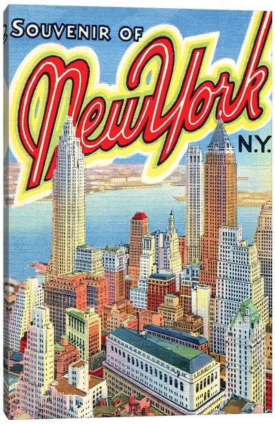 Souvenir of New York, NY, Travel Postcard Canvas Art Print