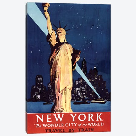 Statue of Liberty New York Vintage Travel Poster, 1920s Canvas Print #PDX117} by Piddix Canvas Print