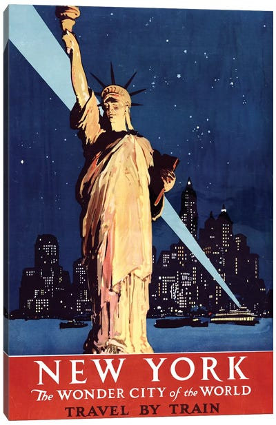 Statue of Liberty New York Vintage Travel Poster, 1920s Canvas Art Print