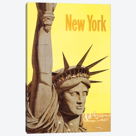 Statue of Liberty Vintage Travel Poster, 1960s Canvas Print #PDX118} by Piddix Canvas Art