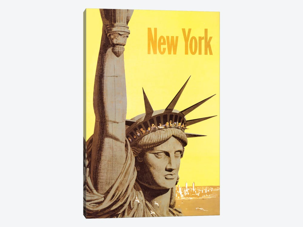 Statue of Liberty Vintage Travel Poster, 1960s by Piddix 1-piece Canvas Art