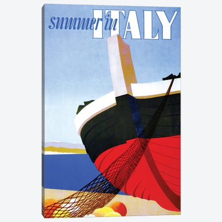 Summer in Italy, Vintage Travel Poster Canvas Print #PDX124} by Piddix Canvas Artwork