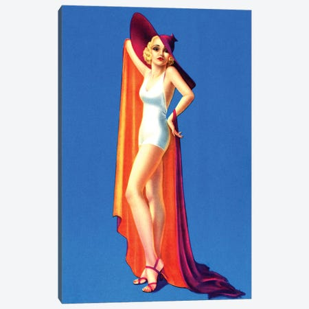 Swimsuit Pin-Up by Billy Devorss Canvas Print #PDX125} by Piddix Canvas Wall Art