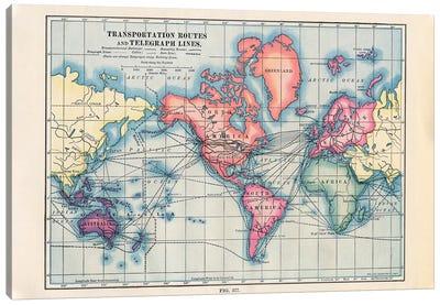 Transportation Routes Vintage Map Canvas Art Print