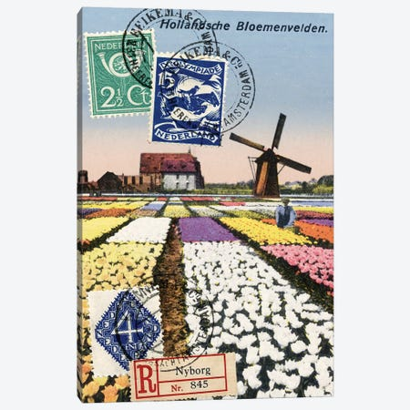 Tulips and Windmills, Dutch Vintage Postcard Collage Canvas Print #PDX131} by Piddix Canvas Art