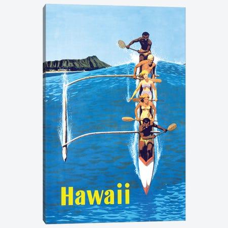 Waikiki Beach Hawaiian Vintage Travel Poster Canvas Print #PDX139} by Piddix Canvas Art