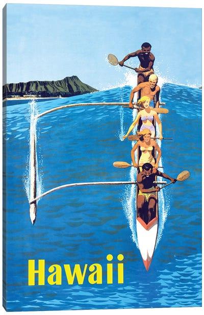 Waikiki Beach Hawaiian Vintage Travel Poster Canvas Art Print