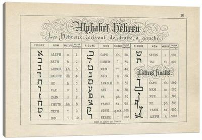 Alphabets Les Hebreux, Plate 10 Canvas Art Print