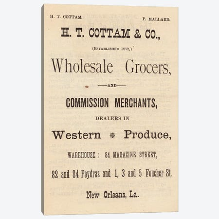 Wholesale Grocers and Western Produce, New Orleans Canvas Print #PDX141} by Piddix Canvas Print
