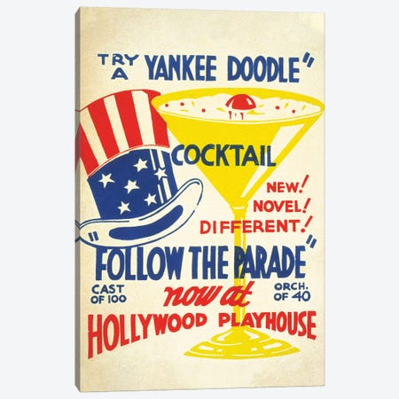 Yankee Doodle Cocktail at the Hollywood Playhouse Canvas Print #PDX145} by Piddix Canvas Artwork