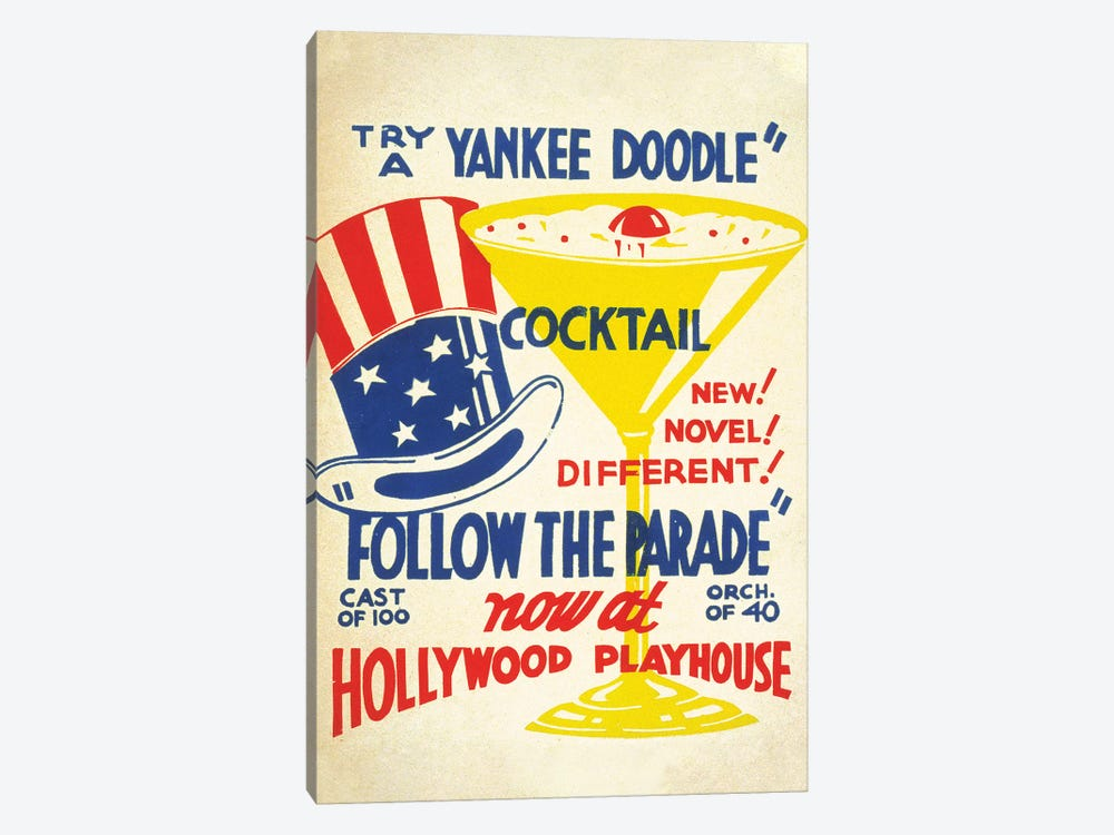 Yankee Doodle Cocktail at the Hollywood Playhouse by Piddix 1-piece Canvas Wall Art