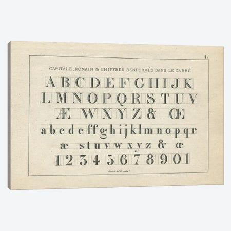 Alphabets, Capitate & Romain, Plate 4 Canvas Print #PDX14} by Piddix Canvas Wall Art