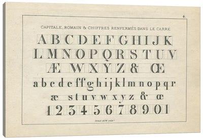 Alphabets, Capitate & Romain, Plate 4 Canvas Art Print