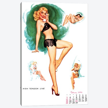 February 1956 Pin-Up Canvas Print #PDX150} by Piddix Canvas Artwork