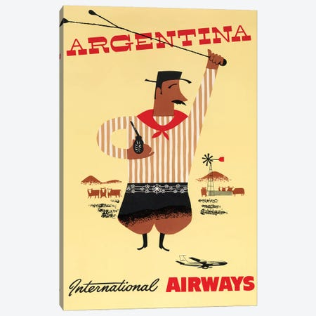 Argentina Vintage Travel Poster, International Airways Canvas Print #PDX22} by Piddix Canvas Wall Art