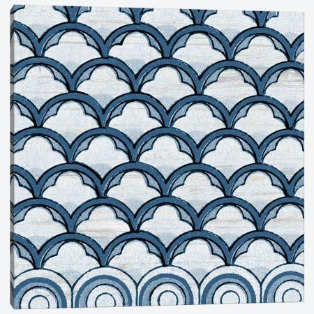 Blue Coastal Pattern on Wood Canvas Print #PDX28} by Piddix Canvas Art