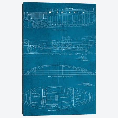 Boat Blueprints I Canvas Print #PDX29} by Piddix Canvas Wall Art