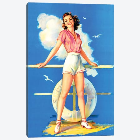All Aboard Retro Pin-Up by Jules Erbit Canvas Print #PDX2} by Piddix Art Print