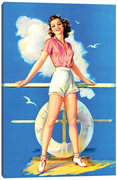 All Aboard Retro Pin-Up by Jules Erbit Canvas Art Print
