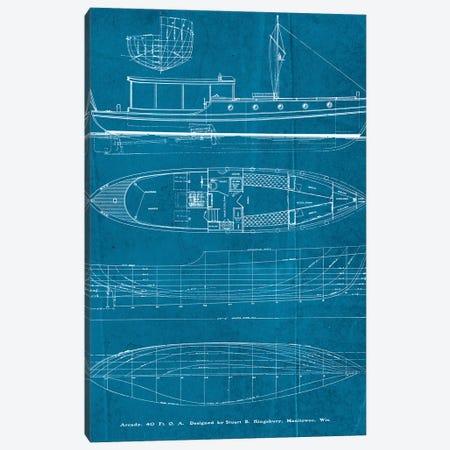 Boat Blueprints II Canvas Print #PDX30} by Piddix Canvas Print