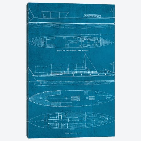 Boat Blueprints III Canvas Print #PDX31} by Piddix Art Print
