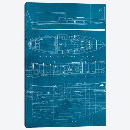 Boat Blueprints IV Canvas Print #PDX32} by Piddix Canvas Print