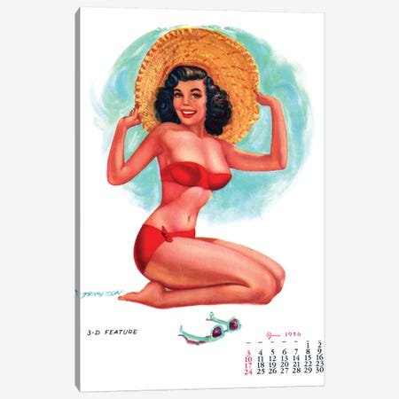 Calendar Girl Pin-Up by T. N. Thompson Canvas Print #PDX34} by Piddix Canvas Wall Art