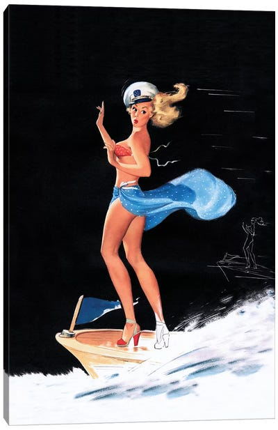 Can You Tie This 1950s Pin-Up Calendar Girl by Freeman Elliott Canvas Art Print
