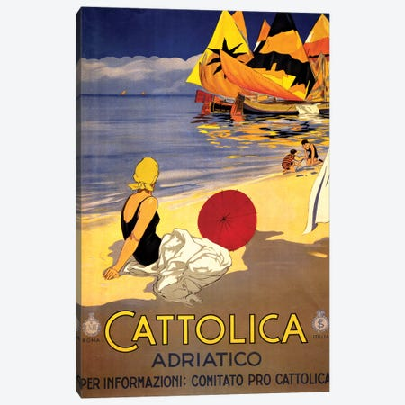 Cattolica Adriatico, Vintage Italian Travel Poster c1920s Canvas Print #PDX39} by Piddix Canvas Art Print