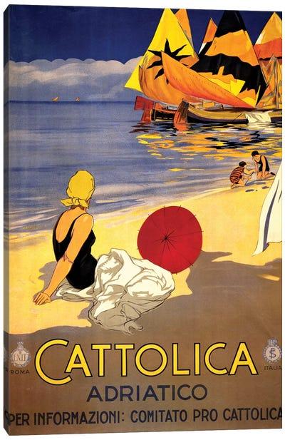 Cattolica Adriatico, Vintage Italian Travel Poster c1920s Canvas Art Print
