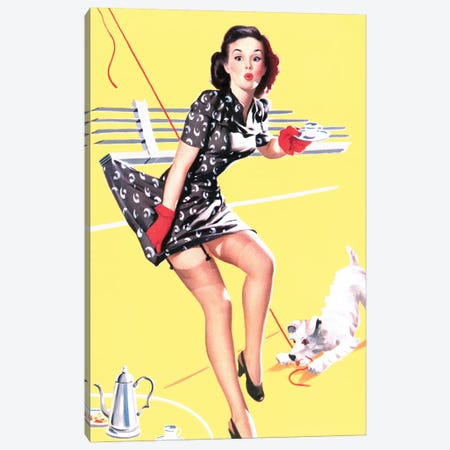 All Tied Up Vintage Pin-Up Canvas Print #PDX3} by Piddix Canvas Print